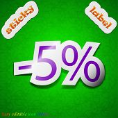 5 Percent Discount Icon Sign. Symbol Chic Colored Sticky Label On Green Background. Vector