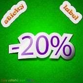 20 Percent Discount Icon Sign. Symbol Chic Colored Sticky Label On Green Background. Vector