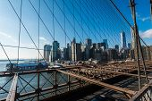 View of lower manhattan from Brooklyn bridge