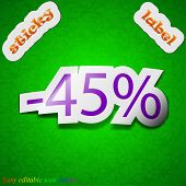 45 Percent Discount Icon Sign. Symbol Chic Colored Sticky Label On Green Background. Vector