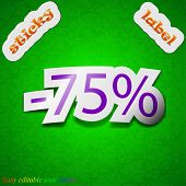 75 Percent Discount Icon Sign. Symbol Chic Colored Sticky Label On Green Background. Vector