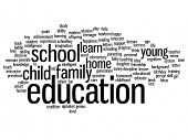 Concept or conceptual education abstract word cloud, white background, metaphor to child, family, school, life, learn, knowledge, home, study, teach, educational, achievement, childhood or teen