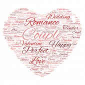 Concept or conceptual red wordcloud text in shape of heart symbol isolated on white background, metaphor to love, romance, passion, romantic, emotion, marriage, valentine, desire or affection