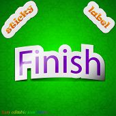 Finish Icon Sign. Symbol Chic Colored Sticky Label On Green Background. Vector
