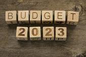 stock photo of reveillon  - Budget for 2023 wooden - JPG