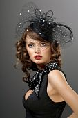 picture of old-fashioned  - A portrait of a glamorous model dressed in vintage style - JPG