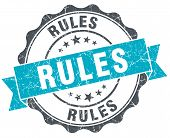 Rules Vintage Turquoise Seal Isolated On White