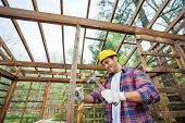 Smiling male worker hammering nail on timber cabin at construction site