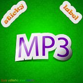 Mp3 Music Format Icon Sign. Symbol Chic Colored Sticky Label On Green Background. Vector