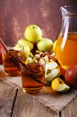 foto of cider apples  - still life with apple cider and fresh apples on wooden table - JPG