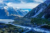 picture of hookers  - Bridge over Hooker River in Aoraki national park New Zealand - JPG