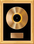 blank golden LP in golden frame