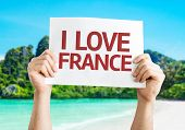 I Love France card with beach background