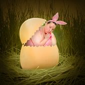 Overweight woman as a funny Easter Bunny in hen egg.