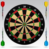 Dartboard with darts. Contain the Clipping Path of all objects