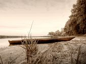 Sepia Retro Style, Boat In Pond