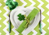 Happy St Patricks Day Table Place Setting With Heart Shape Plates, Shamrock Cookie And Leprechaun Ha