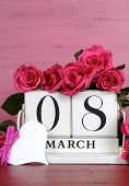 International Womens Day White Vintage Wood Block Calendar Date For March 8, With Roses On Pink And