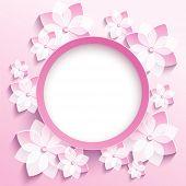 Round Frame With 3D Pink Sakura, Greeting Card