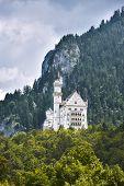 Neuschwanstein castle with landscape valley on background