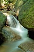 Small Waterfall On In A Tropical Rainforest