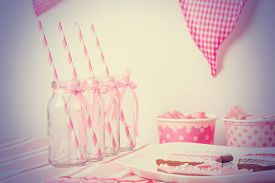 image of girlie  - dessert table served in pink girls party - JPG