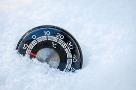 foto of temperature  - Cold weather low temperature concept - JPG