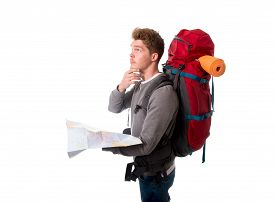 pic of confusing  - young attractive backpacker tourist in stress looking map confused and lost carrying big backpack during vacations trip and holidays isolated on white background - JPG