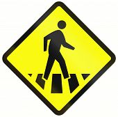 foto of pedestrian crossing  - Indonesian road warning sign  - JPG