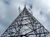 picture of power transmission lines  - Steel transmission tower for overhead power line - JPG