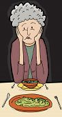 image of sulky  - Point of view of mature female at dinner with friend - JPG