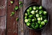 image of brussels sprouts  - Fresh brussel sprouts over rustic wooden texture - JPG