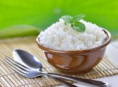 picture of ceramic bowl  - Cooked white rice garnished with mint in a ceramic bowl - JPG