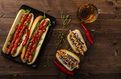 stock photo of wiener dog  - All beef dogs variations nice hot dogs with beer differend sizes and delicious flavour - JPG