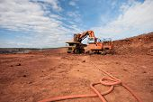 image of iron ore  - Truck is being loaded with ore at a mine site - JPG
