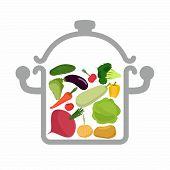 foto of vegetable soup  - Vegetables in a saucepan - JPG