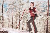 pic of irs  - Young woman tourist walking on stones in forest - JPG