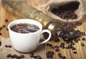 pic of coffee crop  - Coffee beans white cup with a coffee drink and coffee grinder - JPG