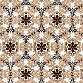 image of primitive  - Primitive simple retro seamless pattern with lines and circles - JPG