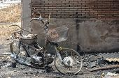 stock photo of fire insurance  - Burnt motocycle or Insurance matters can use as background - JPG