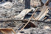 picture of fire insurance  - Close up damage chair caused by fire in Thailand - JPG