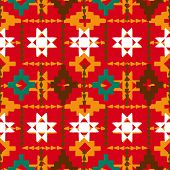 pic of native american ethnicity  - Vector seamless ethnic pattern with american indian motifs in multiple colors - JPG