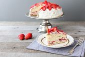 stock photo of cake stand  - strawberry cake on the cake stand rustic - JPG