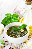 image of pesto sauce  - Homemade green basil pesto sauce and fresh ingredients - JPG