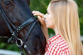 picture of horse girl  - Pleasing moment - JPG