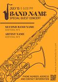 Постер, плакат: Jazz Music Concert Saxophone Horizontal Music Flyer Template