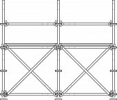 image of scaffold  - vector dark grey outline prefabricated scaffolding isolated illustration white background - JPG