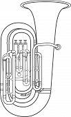 stock photo of wind instrument  - vector dark grey outline tuba wind instrument vector illustration white background - JPG
