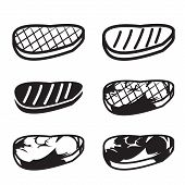 foto of meat icon  - Set of grilled meat vector icon - JPG