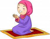 stock photo of muslim  - Illustration of a Little Muslim Girl Kneeling on a Carpet While Praying - JPG